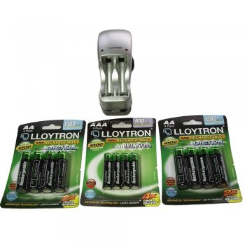 Lloytron Bundle OFFER - 8xAA + 4xAAA Rechargable Batteries and Charger for 1:16th nitro models