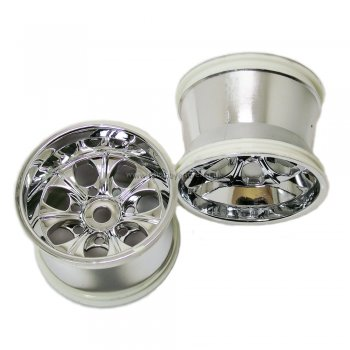 HSP 62010 Silver Chrome 1/8 Scale Monster Truck Wheel Rims X 2