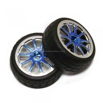 HSP 02018 NPB-02116 Sealed Wheel complete (Blue Chrome) Pair 1/10 On-Road Tyres