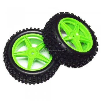 HSP 06010 HSP Green Front Buggy Wheels complete with Off-Road Tyres.