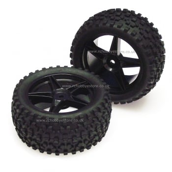 HSP 06026BK Rear 1:10 Buggy Wheels and Off-Road Tyres.
