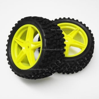 HSP 06026 HSP Yellow Rear Buggy Wheels complete with Off-Road Tyres.