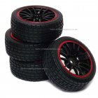 14 Spoke On-Road Wheel & Tyre Set 4P Black/Red trim   Rims & Soft Rubber high grip road tyres 1:10 scale