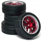 14 Spoke On-Road Wheel & Tyre Set 4P Red with Chrome   trim Rims & Soft compound high grip road tyres 1:10 scale