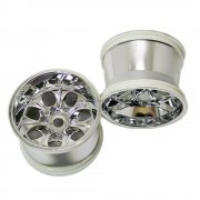 62010 Silver Chrome 1/8 Scale Monster Truck Wheel Rims X 2