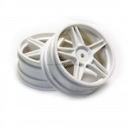 06008 White Front Wheel Rims 2 pcs. 1/10 HSP, Exceed, Himoto RC Buggy