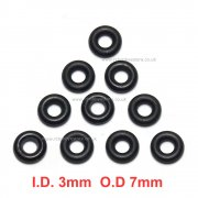 Drive shaft O-ring for 1/10th scale drive cups ID 3mm x OD 7mm