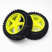 06010 HSP Yellow Front Buggy Wheels complete with Off-Road Tyres.
